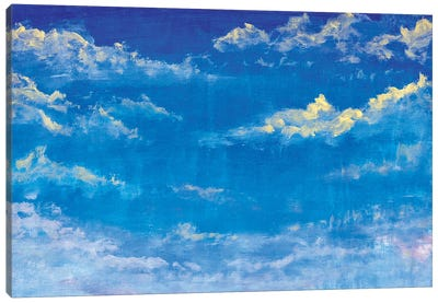 Beautiful Blue Sky With Clouds Abstract Handmade Oil Painting Canvas Art Print