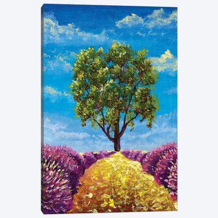 Oil Painting Warm Summer Landscape With Beautiful Tree, Path And Lush Lavender Bushes Canvas Print #VRY523} by Valery Rybakow Canvas Print