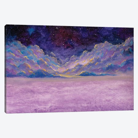 Panoramic Beautiful Landscape With Night Starry Sky Fantasy Clouds Over Mountains Canvas Print #VRY525} by Valery Rybakow Canvas Wall Art