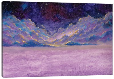 Panoramic Beautiful Landscape With Night Starry Sky Fantasy Clouds Over Mountains Canvas Art Print