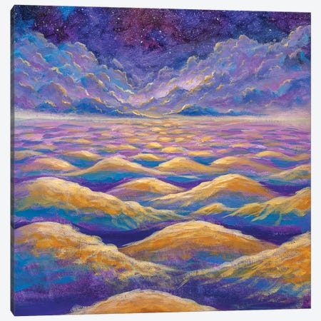 Beautiful Night Starry Sky With Fantasy Clouds Over Waves Of Water Or Mountains Canvas Print #VRY528} by Valery Rybakow Canvas Print