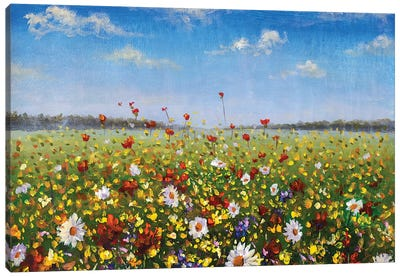 Flower Painting Wildflowers White Daisies, Red Poppies And Yellow Beautiful Flowers In Grass Canvas Art Print