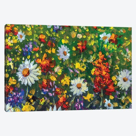 Red Poppies And Yellow Beautiful Flowers In Grass On Field Painting Canvas Print #VRY533} by Valery Rybakow Canvas Art