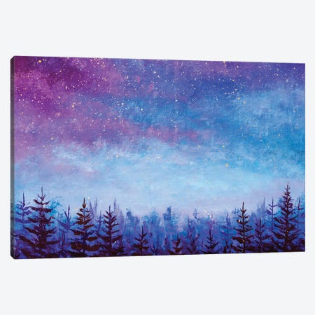 Magic Night Blue Sky With Purple Clouds With Stars Over Spruce Forest Canvas Print #VRY542} by Valery Rybakow Canvas Art Print
