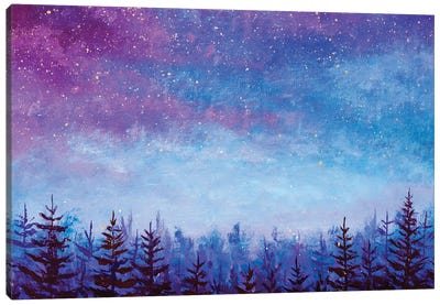 Magic Night Blue Sky With Purple Clouds With Stars Over Spruce Forest Canvas Art Print