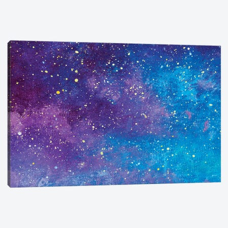 Universe Filled With Stars Blue And Purple Handmade Acrylic Painting Canvas Print #VRY543} by Valery Rybakow Canvas Print