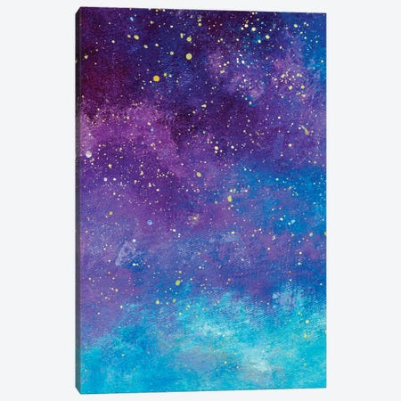 Night Sky With Stars Painting. Canvas Print #VRY544} by Valery Rybakow Canvas Wall Art