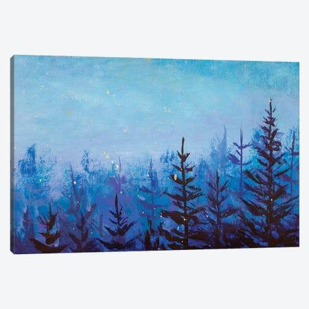 Acrylic Painting Dark Fir Trees In Foggy Magic Forest Canvas Print #VRY545} by Valery Rybakow Canvas Artwork