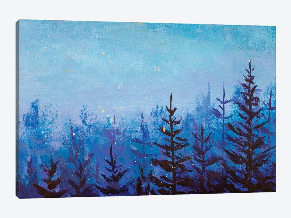 Acrylic Painting Dark Fir Trees In Foggy Magic Forest by Valery Rybakow 1-piece Canvas Art Print