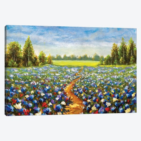 Road Through The Flower Field Acrylic Painting Canvas Print #VRY551} by Valery Rybakow Canvas Artwork