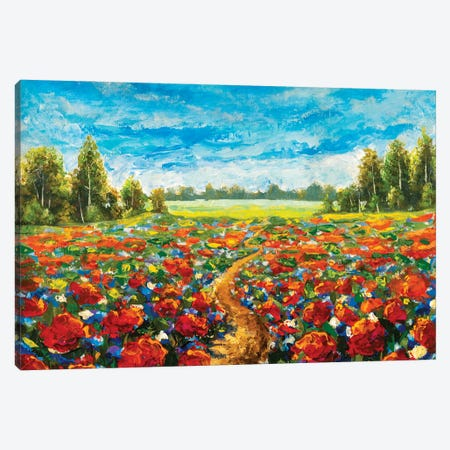 Field Of Red Poppies Original Oil Painting Canvas Print #VRY554} by Valery Rybakow Canvas Art Print