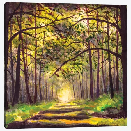 Painting Path Sunny Footpath Road In Sunlight Park Alley Forest Canvas Print #VRY557} by Valery Rybakow Art Print