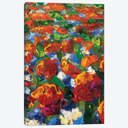 Close-Up Blue, Yellow Flower, Red Poppies, Roses, Tulips Flowers Canvas Print #VRY559} by Valery Rybakow Canvas Wall Art