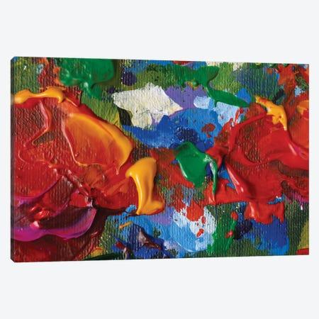 Big Red Blue Green Flowers Poppies Rose Peony Closeup Macro Canvas Print #VRY562} by Valery Rybakow Art Print