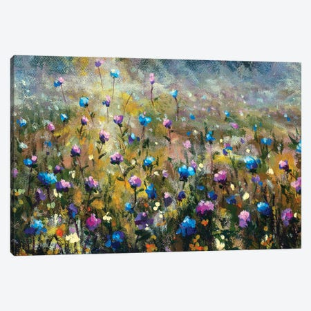 Summer Field Landscape With Blue Pink Flowers Canvas Print #VRY572} by Valery Rybakow Canvas Wall Art