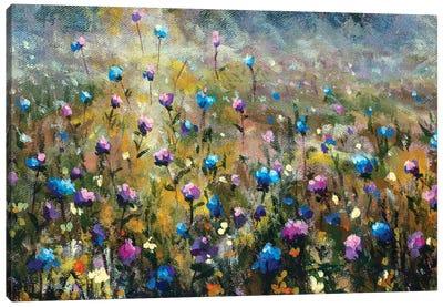 Summer Field Landscape With Blue Pink Flowers Canvas Art Print