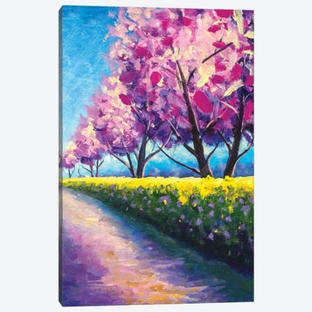 Wonderful Scenic Park With Rows Of Blooming Cherry Sakura Trees Canvas Print #VRY573} by Valery Rybakow Canvas Wall Art
