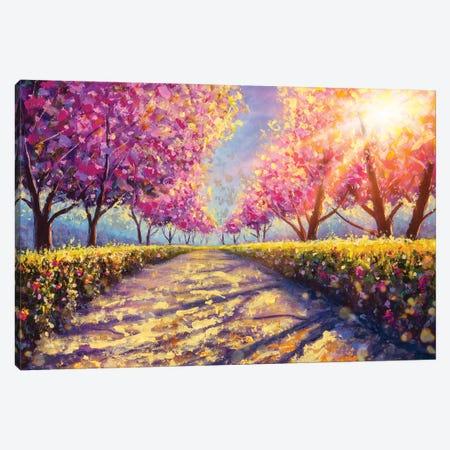 Blossoming Alley Park Of Pink Sakura - Sunny Acrylic Painting Canvas Print #VRY574} by Valery Rybakow Canvas Art Print