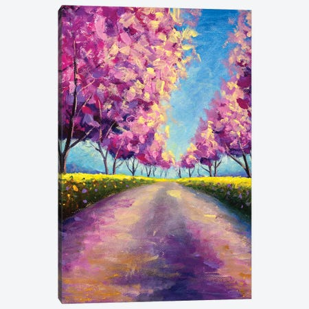 Blossoming Alley Park Of Pink Sakura Sunny Painting Canvas Print #VRY575} by Valery Rybakow Canvas Print