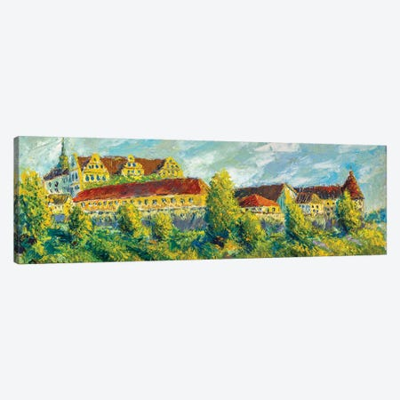 Extra Wide Panorama Of Big Beautiful Old Castle Painting Canvas Print #VRY576} by Valery Rybakow Canvas Art Print