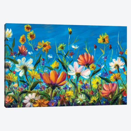 Extra Wide Flower Panorama Of Beautiful Spring Wildflowers Chamomile Painting Canvas Print #VRY577} by Valery Rybakow Canvas Print