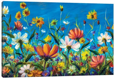 Extra Wide Flower Panorama Of Beautiful Spring Wildflowers Chamomile Painting Canvas Art Print