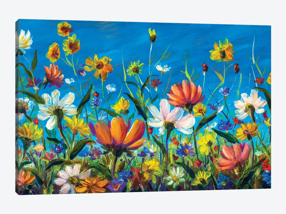 Extra Wide Flower Panorama Of Beautiful Spring Wildflowers Chamomile Painting by Valery Rybakow 1-piece Canvas Artwork