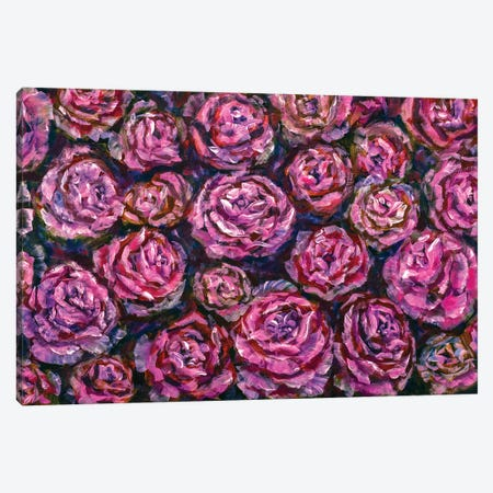 Extra Wide Panorama Of Beautiful Red Pink Peonies Roses Flowers Painting Canvas Print #VRY579} by Valery Rybakow Canvas Artwork