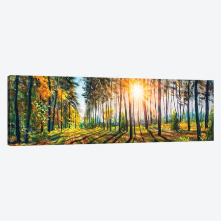 Extra Wide Panorama Of Gorgeous Spring Sunny Summer Forest Landscape Painting Canvas Print #VRY580} by Valery Rybakow Canvas Print