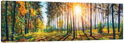 Extra Wide Panorama Of Gorgeous Spring Sunny Summer Forest Landscape Painting Canvas Art Print