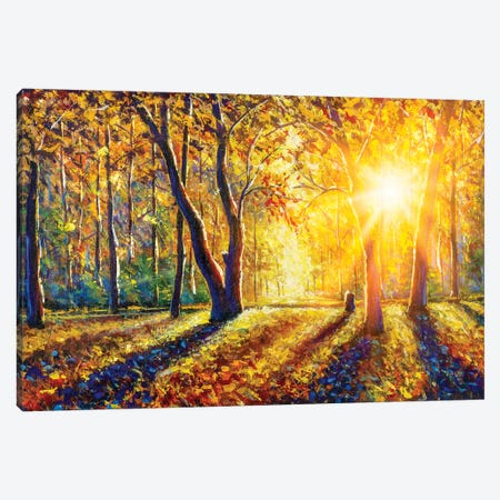 Extra Wide Panorama Of Gorgeous Autumn Forest Painting Canvas Print #VRY581} by Valery Rybakow Canvas Art Print