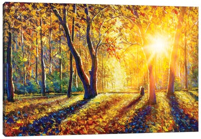 Extra Wide Panorama Of Gorgeous Autumn Forest Painting Canvas Art Print