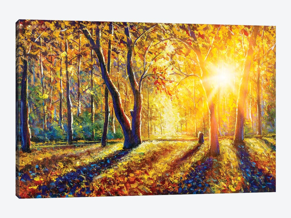 Extra Wide Panorama Of Gorgeous Autumn Forest Painting by Valery Rybakow 1-piece Canvas Print