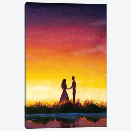 Silhouette Of A Loving Guy And A Girl Standing Sideways Canvas Print #VRY587} by Valery Rybakow Canvas Art