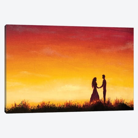 Lovers At At Orange Sunset Dawn On Beautiful Landscape Canvas Print #VRY588} by Valery Rybakow Canvas Print
