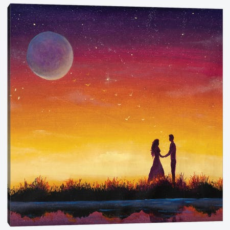 Silhouette Of Loving Couple. Lovers At At Orange Sunset Dawn On Beautiful Landscape Canvas Print #VRY589} by Valery Rybakow Canvas Print