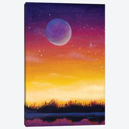 Beautiful Big Moon Planet On Yellow Orange Red Purple Background Sunset Dawn Starry Sky. Canvas Print #VRY590} by Valery Rybakow Canvas Wall Art