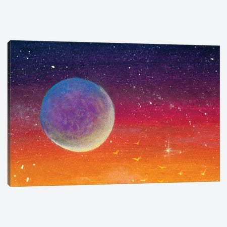 Big Moon Planet On Yellow Orange Red Purple Sunset Dawn Starry Sky. Canvas Print #VRY591} by Valery Rybakow Canvas Art