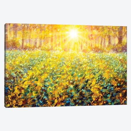 Dawn Sunset On Green Meadow Field In Forest Painting Impressionism Landscape Canvas Print #VRY594} by Valery Rybakow Art Print