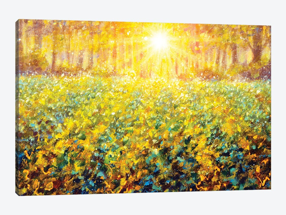 Dawn Sunset On Green Meadow Field In Forest Painting Impressionism Landscape by Valery Rybakow 1-piece Art Print