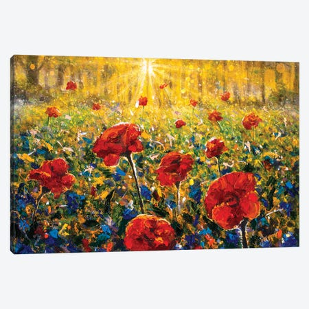 Flowers Red Poppies Field Painting Canvas Print #VRY596} by Valery Rybakow Art Print