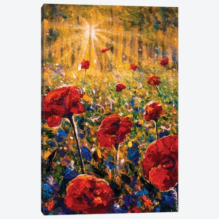 Summer Red Poppies Field Of Flowers Canvas Print #VRY597} by Valery Rybakow Canvas Print