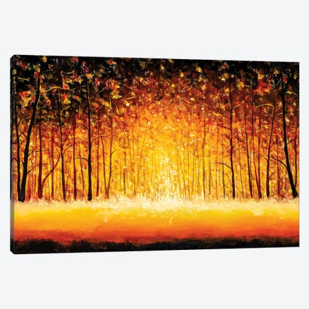 Panorama Orange Autumn Sunny Warm Park Alley Forest Original Painting Canvas Print #VRY598} by Valery Rybakow Canvas Art