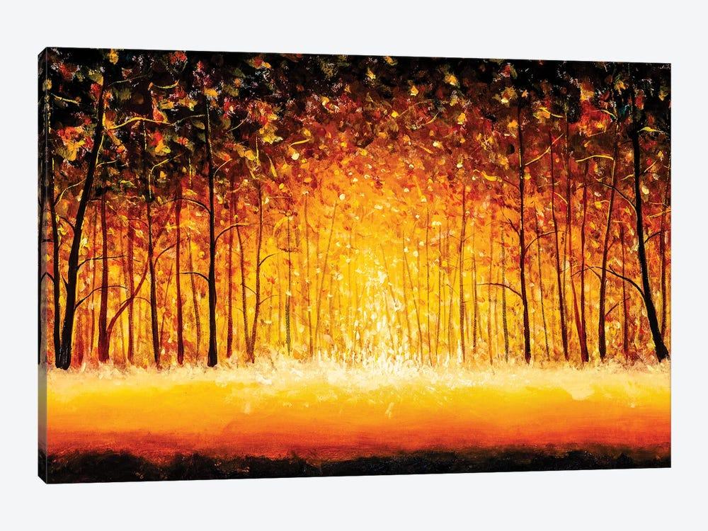 Panorama Orange Autumn Sunny Warm Park Alley Forest Original Painting by Valery Rybakow 1-piece Art Print