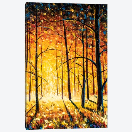 Orange Gold Trees In Park Alley Forest Texture Impressionism Original Oil Painting Canvas Print #VRY599} by Valery Rybakow Canvas Wall Art