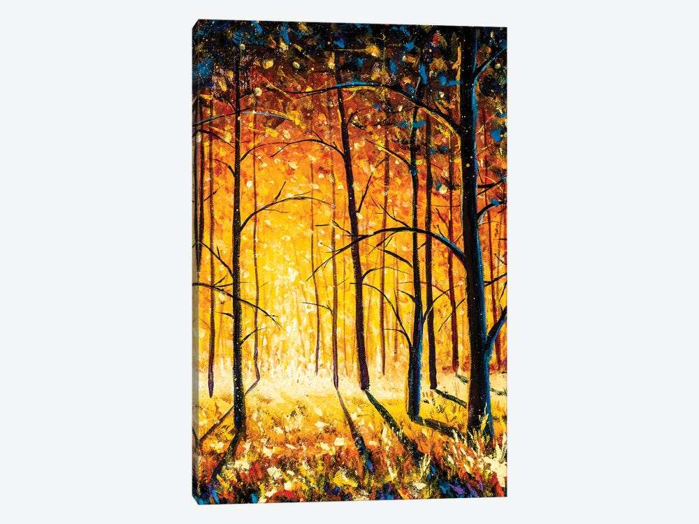 Orange Gold Trees In Park Alley Forest Texture Impressionism Original Oil Painting by Valery Rybakow 1-piece Canvas Wall Art