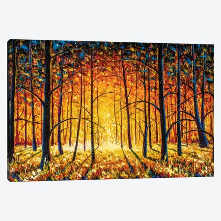 Panorama Orange Autumn Sunny Warm Park Alley Forest Original Oil Painting Canvas Print #VRY600} by Valery Rybakow Canvas Artwork