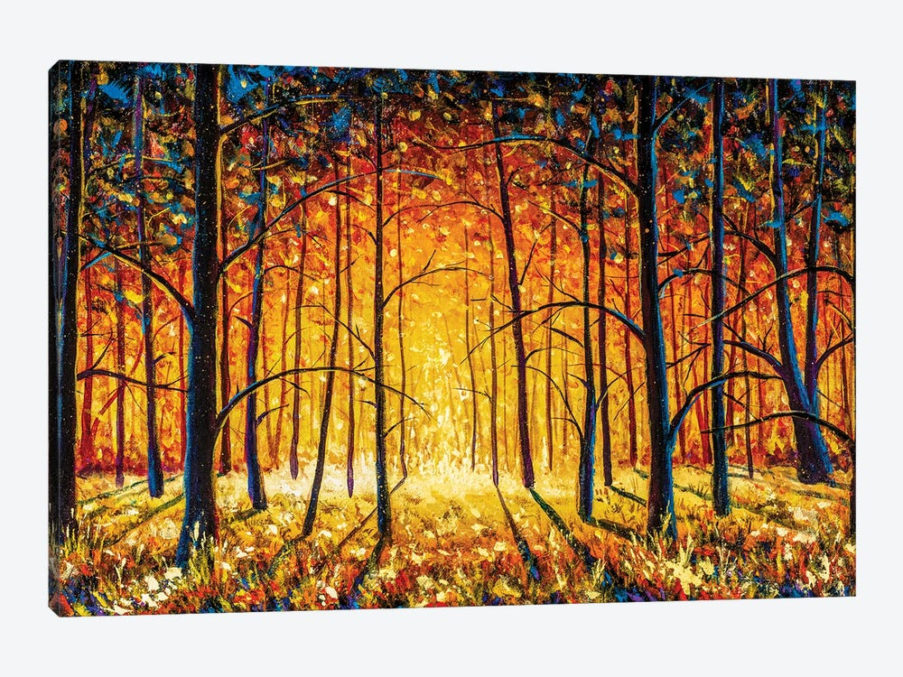 Panorama Orange Autumn Sunny Warm Park Alley Forest Original Oil Painting by Valery Rybakow 1-piece Canvas Wall Art