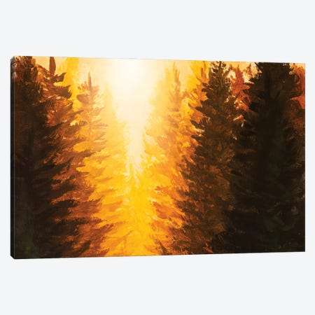Handmade Acrylic Painting Of Beautiful Sunrise Sunset In Fir Forest Canvas Print #VRY604} by Valery Rybakow Canvas Art Print
