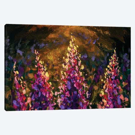 Impressionism Texture Oil Painting Beautiful Pink Purple Flowers Canvas Print #VRY605} by Valery Rybakow Art Print